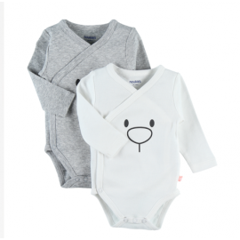 Body US ML - Gris et blanc - (lot de 2) Ours - 12 mois - Noukies Z991180.12M