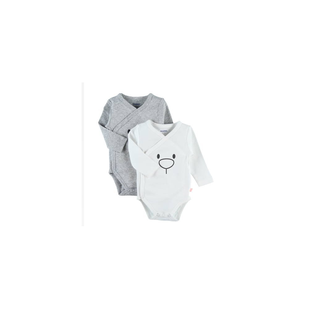 Body US ML - Gris et blanc - (lot de 2) Ours - 12 mois - Noukies