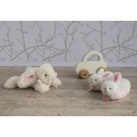 Chaussons hochet lapin bonbon rose - Doudou & Cie