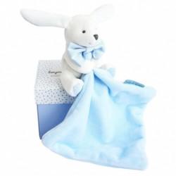 Doudou lapin mouchoir bleu boite fleur - Doudou et Compagnie DC3338