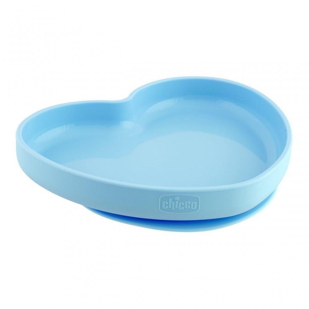 Assiette coeur en silicone avec ventouse - 9m+ - Bleu - Chicco