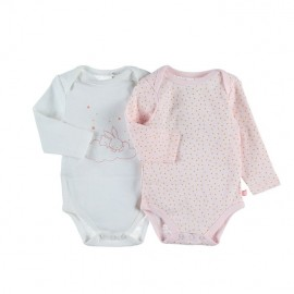 Body US ML - Rose et blanc - (lot de 2) - Coton BIO - 12 mois - Noukies Z085181.12M