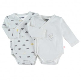 Body US ML - Blanc imprimé - (lot de 2) - Coton BIO - 12 mois - Noukies Z090181.12M