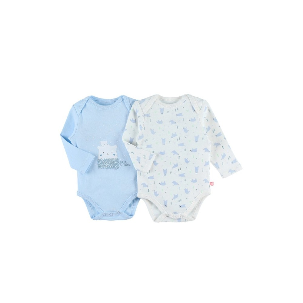 Body US ML - Bleu et blanc - (lot de 2) - Coton BIO - 12 mois - Noukies Z080181.12M