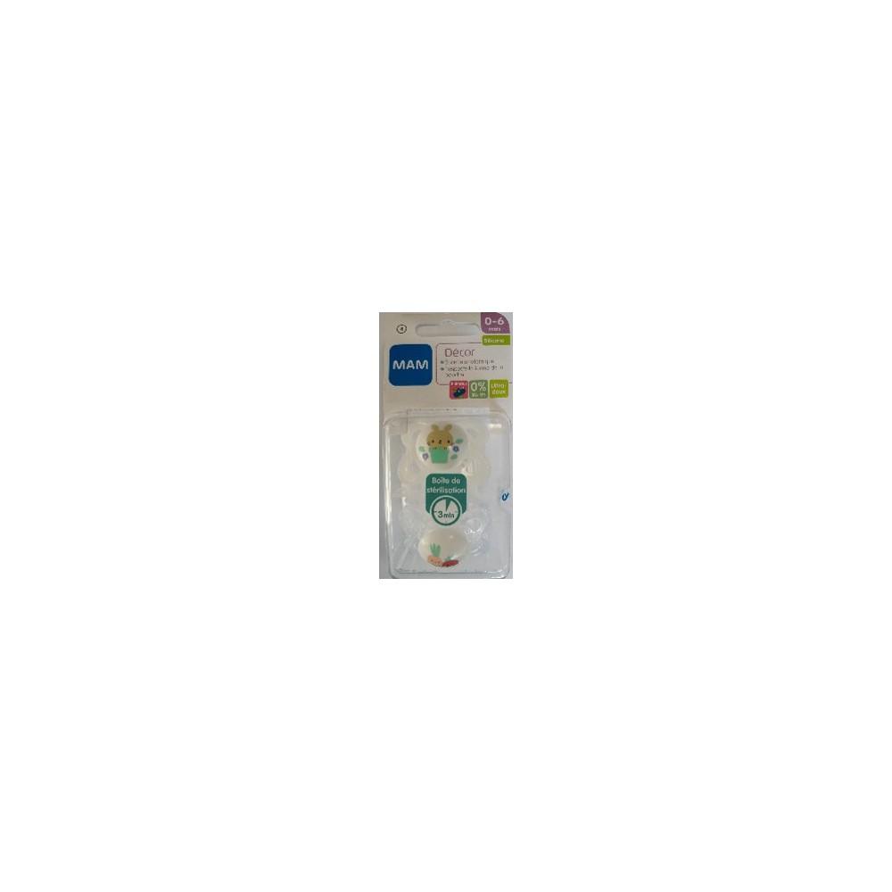 """Sucette décor """"Animaux"""" silicone 0-6 mois (lot de 2) - Blanc - MAM 4"""