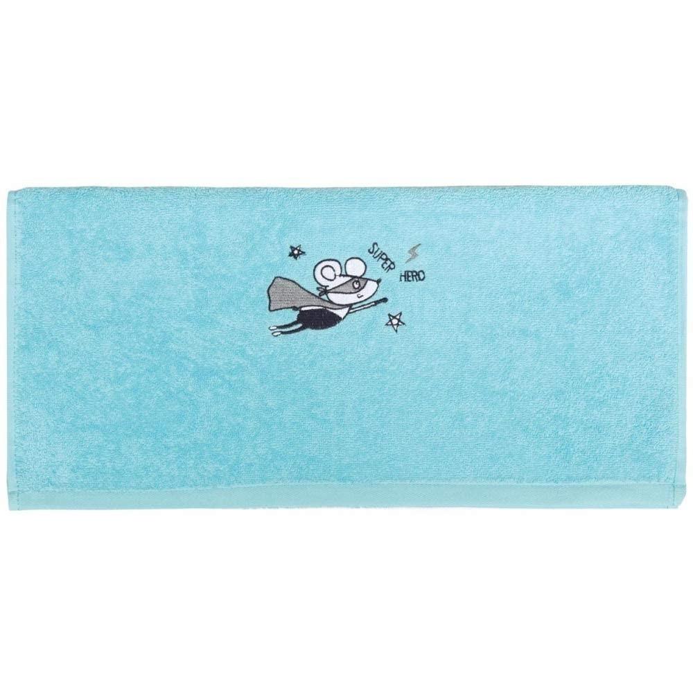 """Serviette de toilette éponge - Bleu Turquoise - """"Super Héro"""" - Sensei"""