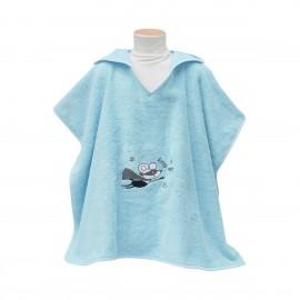 "Poncho de bain 2 ans - Bleu Turquoise -  ""Super Héro"" - Sensei"