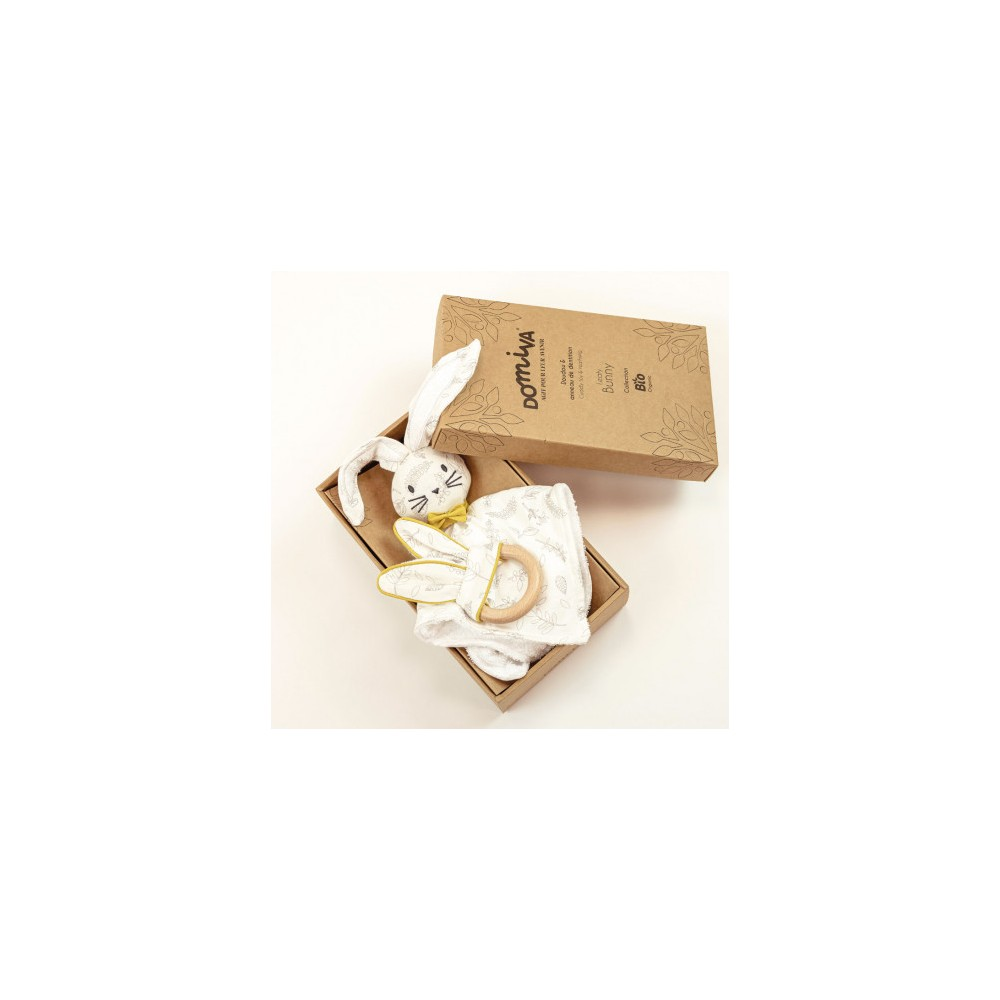 Coffret doudou + anneau de dentition - Leafy Bunny - Coton Bio - Domiva