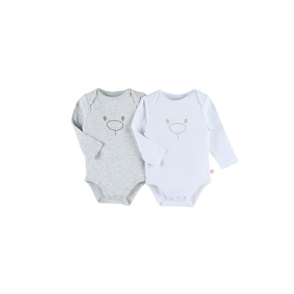 Body US ML - Gris et blanc - coton bio - (lot de 2) Ours - 12 mois - Noukies